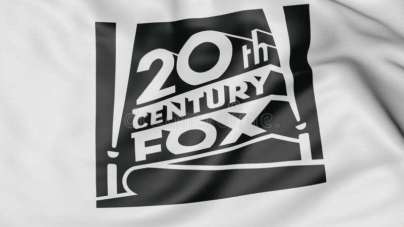 Slut upp av den vinkande flaggan med logoen för 20th Century Fox filmkorporation, tolkning 3D stock illustrationer