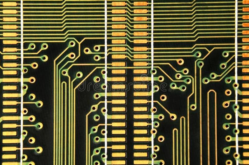Slut upp av det kulöra mikroströmkretsbrädet abstrakt bakgrundsteknologi Datormekanism i detalj royaltyfri fotografi