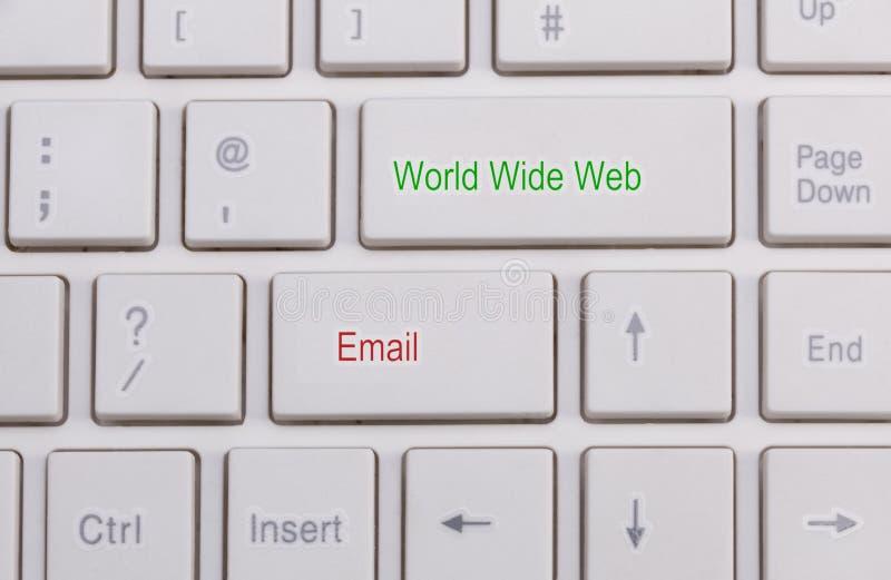 Slut upp av det vita tangentbordet arkivfoto