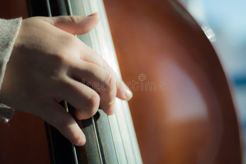 Slut upp av en fiol som är klar att spela royaltyfria bilder