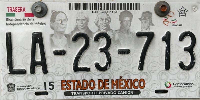 Slut upp av en mexicansk bilplatta royaltyfri foto