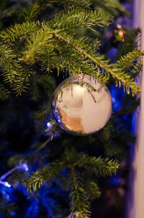 Slut upp av gråa julgrangarneringar arkivfoton
