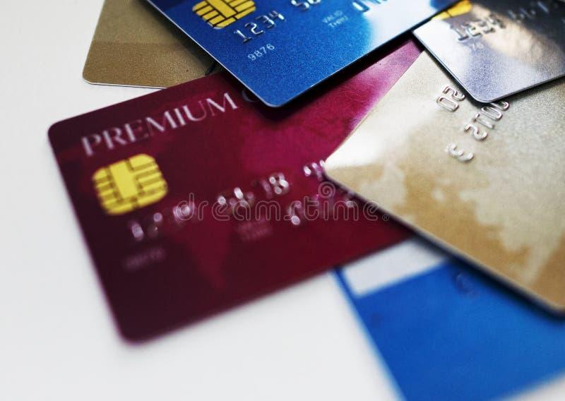 Slut upp av kreditkortar royaltyfri fotografi