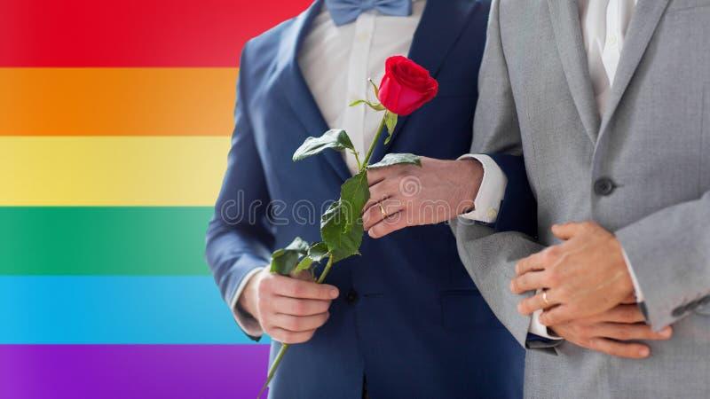 Slut upp av lyckliga manliga glade parinnehavhänder arkivfoton