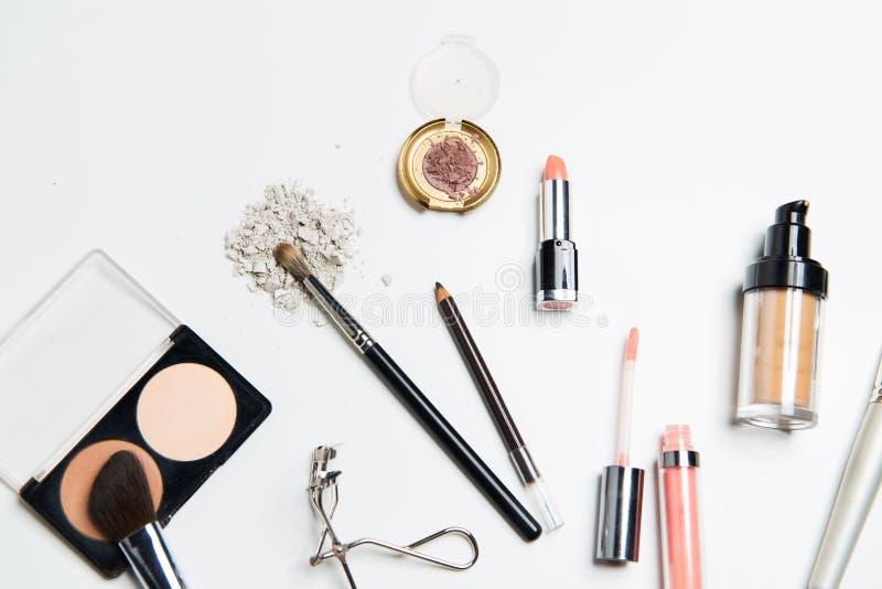 Slut upp av makeupmaterial royaltyfri fotografi