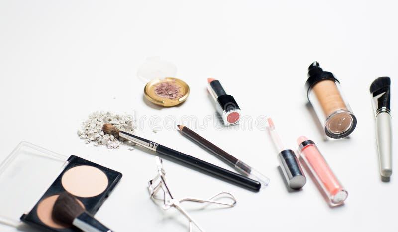 Slut upp av makeupmaterial fotografering för bildbyråer