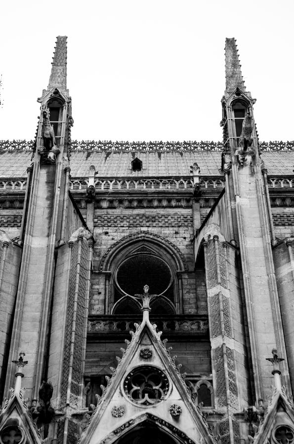 Slut upp av Notre Dame, paris fotografering för bildbyråer