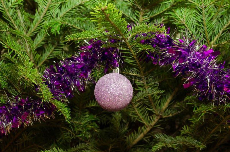 Slut upp av purpurfärgade julgrangarneringar arkivbilder