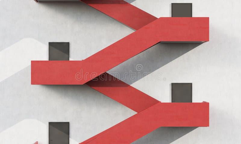 Slut upp av röd trappa stock illustrationer