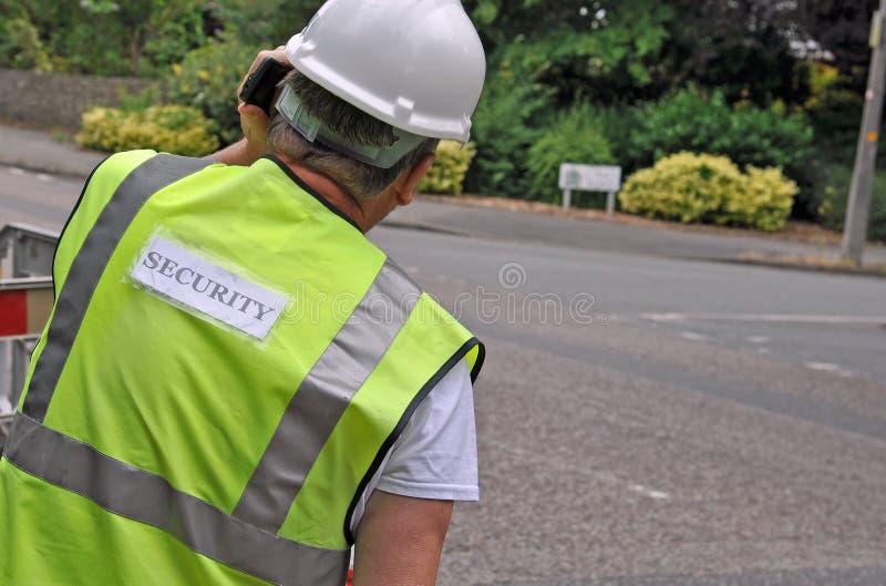 Slut upp av säkerhetsordningsvakten arkivbilder