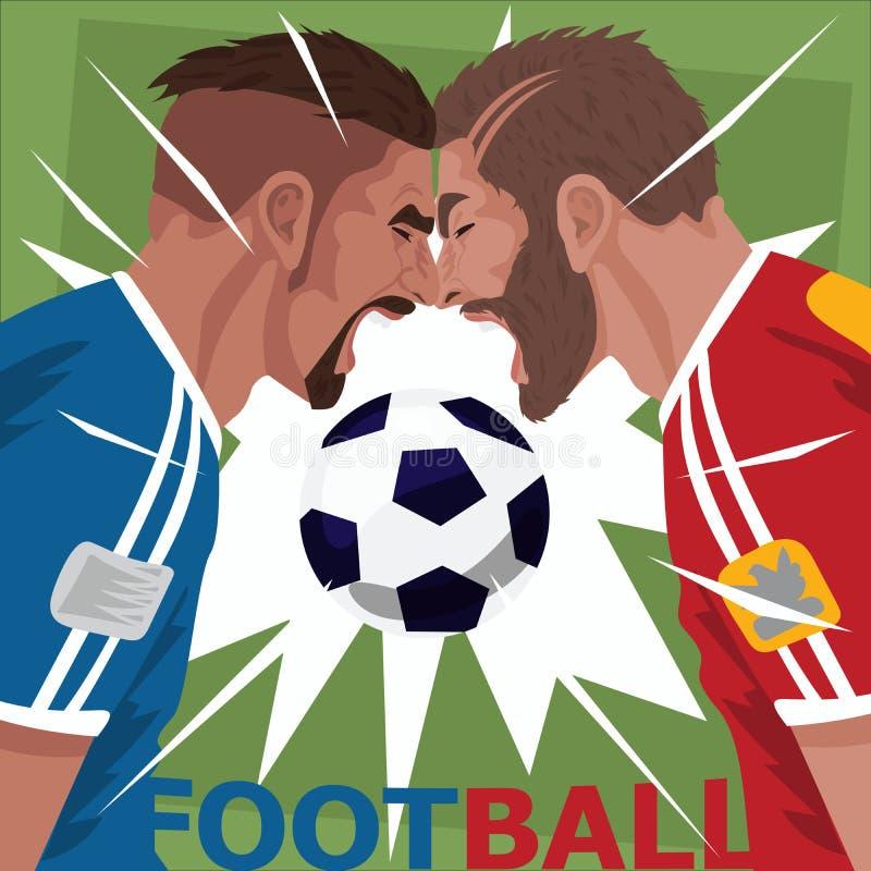 Slut upp av skrikiga fotbollspelare stock illustrationer