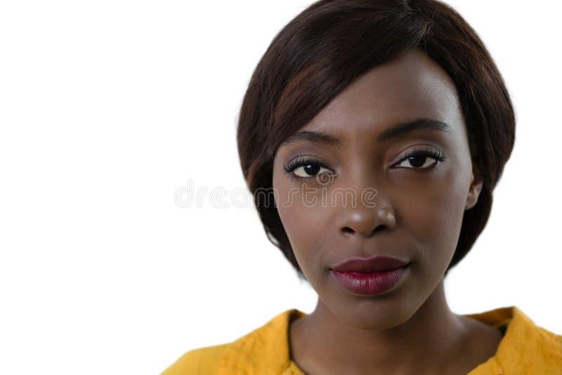 Slut upp av ståenden av den unga kvinnan arkivfoto