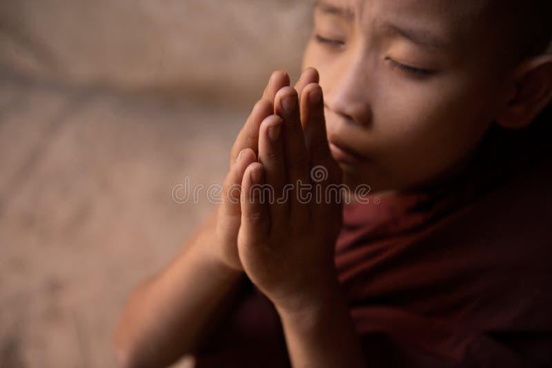 Slut upp buddistiskt be för novismunkar arkivfoton