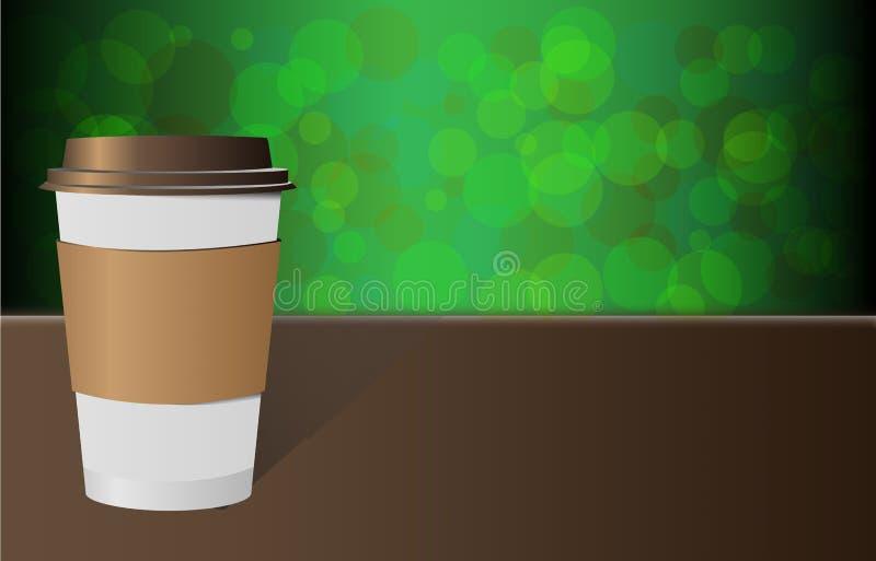Slut upp för avhämtning kaffe med den bruna lock- och kopphållaren som isoleras på grön bakgrund vektor illustrationer