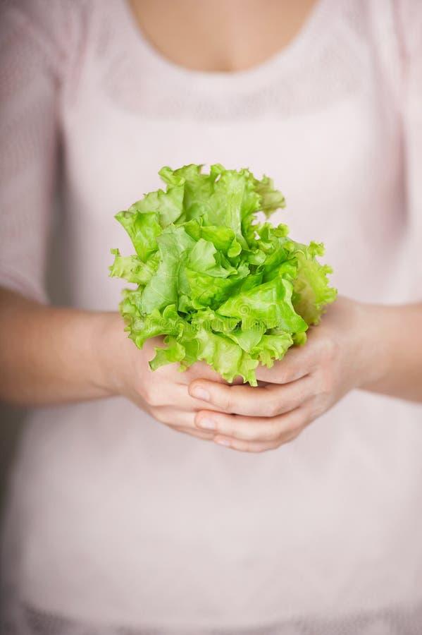 Slut upp fotoet av grönsallat i kvinnliga händer arkivbild