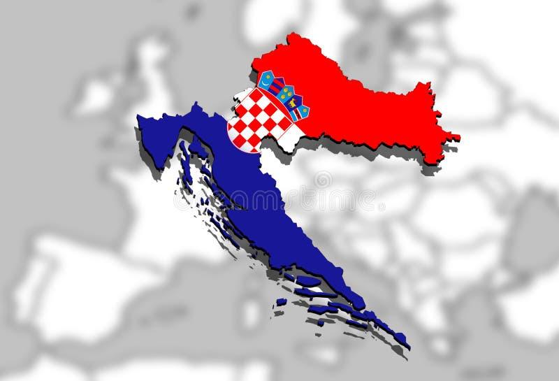Slut upp på Kroatienöversikt på Europa bakgrund royaltyfri illustrationer
