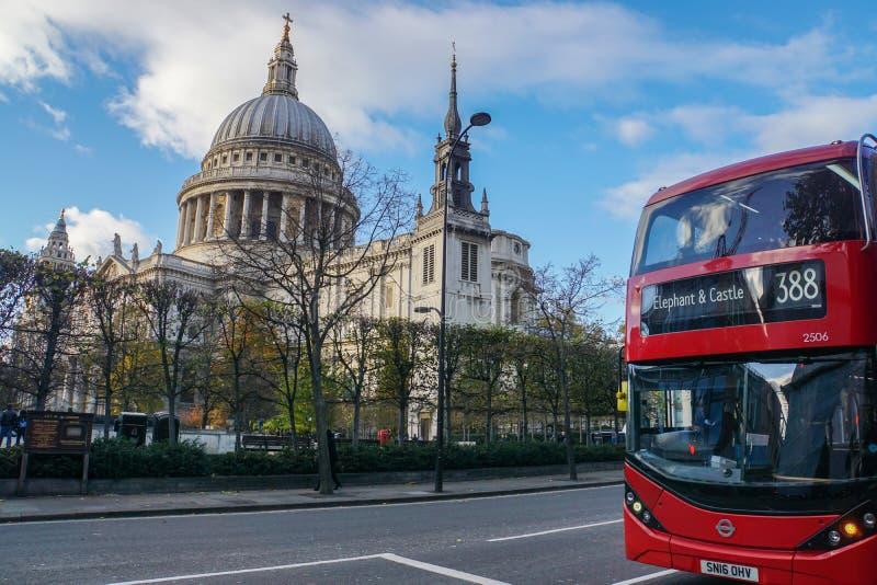 Slut upp rött stopp för London buss 388 på St Paul Cathedral royaltyfri bild