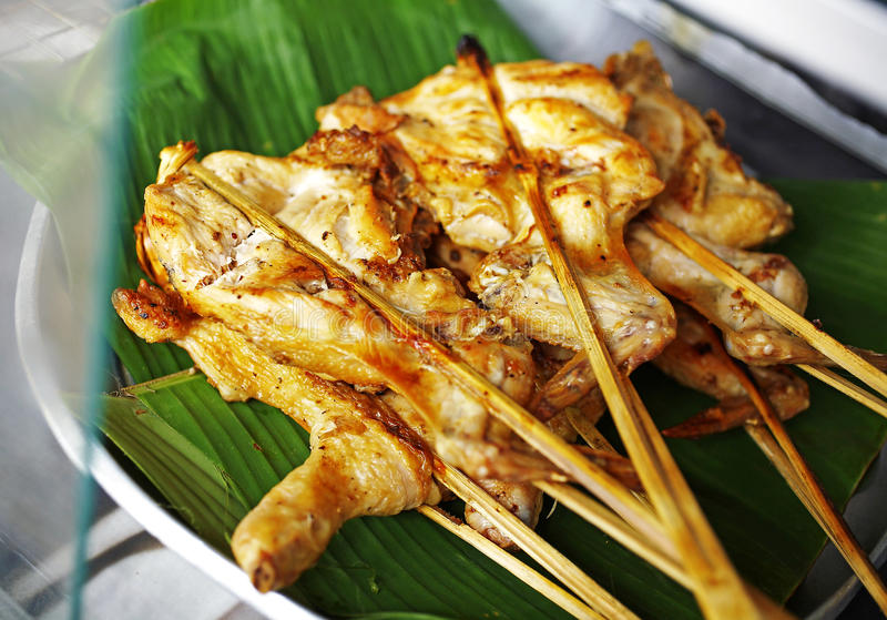 Slut upp thai feg grillfest arkivbild