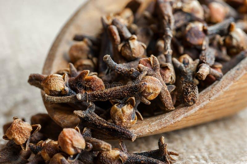 Slut upp torkade kryddnejlikor i träskyffel på säckvävsäcken royaltyfri fotografi