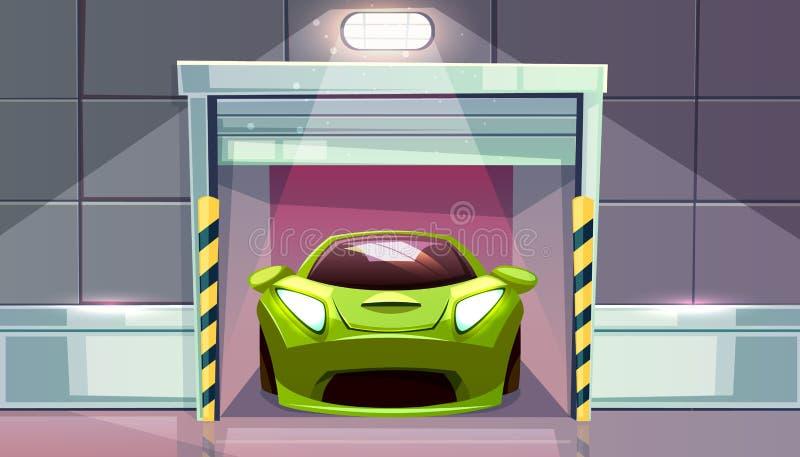 Slutare för rulle för parkeringsplats för bilgaragevektor royaltyfri illustrationer