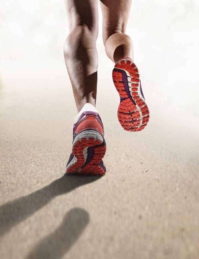 Slutet för bakre sikt upp stark idrotts- kvinnlig lägger benen på ryggen för sportkvinna för rinnande skor att jogga arkivfoton