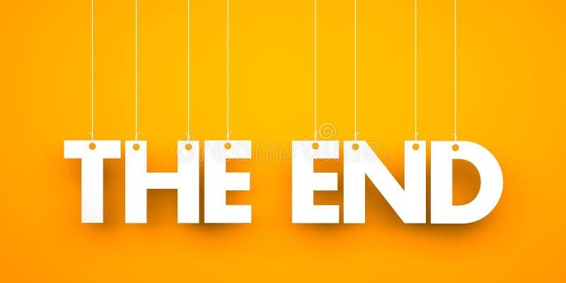 Slutet - ord som hänger på rep stock illustrationer