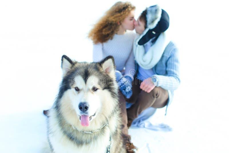 Slutet tystar ned upp av skrovligt med kyssande par i vinterbakgrund arkivbild