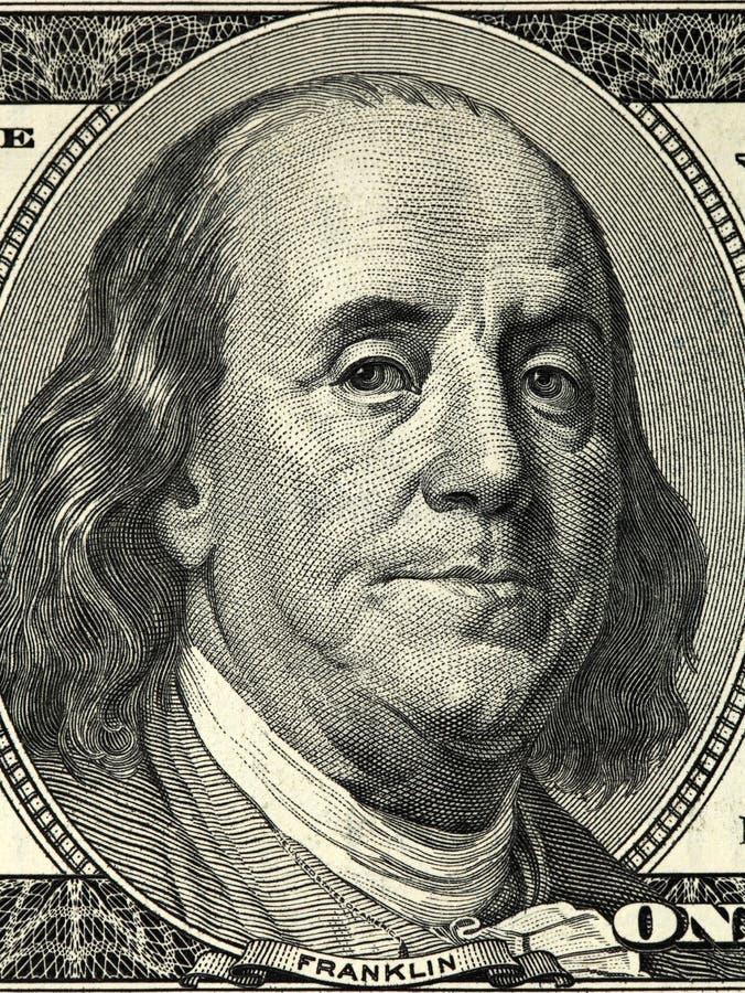 Slutet upp över huvudet sikt av Benjamin Franklin vänder mot på räkning för US dollar 100 USA hundra closeup för dollarräkning arkivfoton