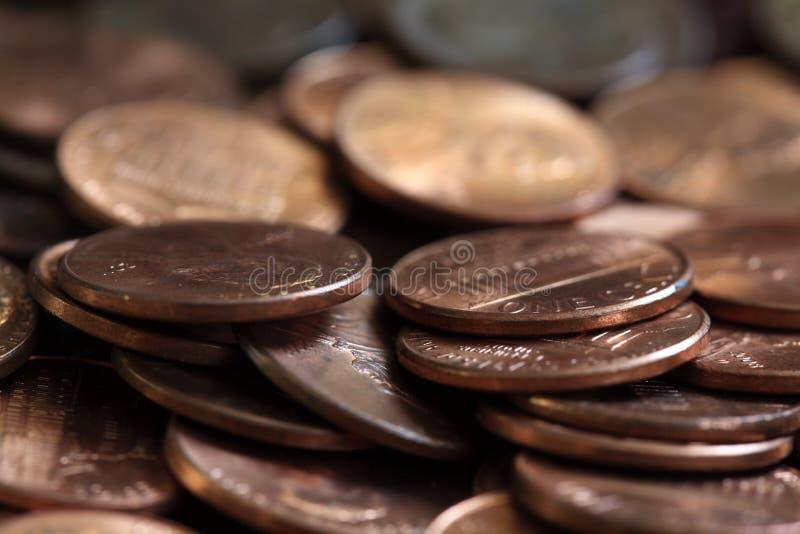 Slutet upp av en cent för USA mynt traver royaltyfri foto