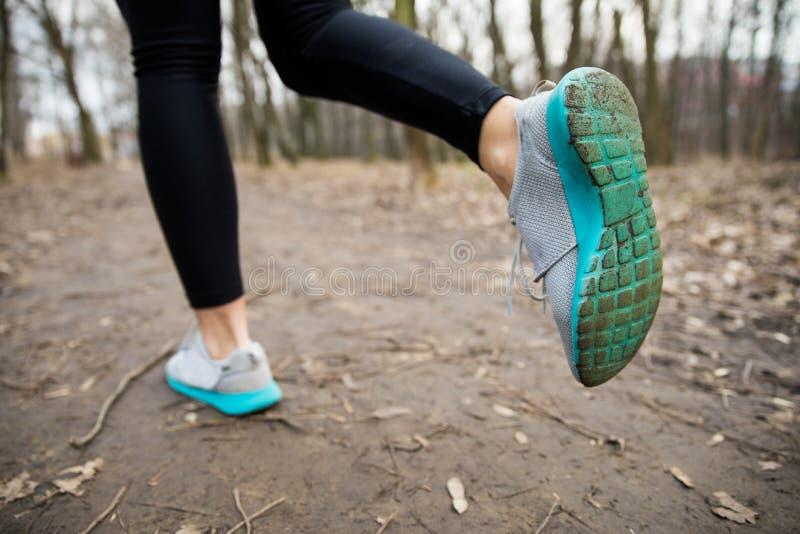 Slutet upp löparekvinnlig lägger benen på ryggen att gå på slingan i parkera utomhus royaltyfri bild