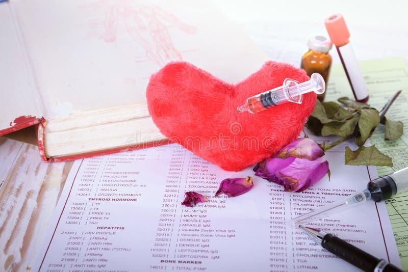 Slutet upp syring injektion för hjärta med rosen vissnar (begreppet för ut ur förälskelse) royaltyfri fotografi