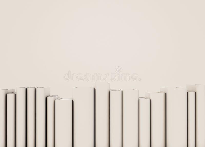 Slutet upp vita böcker ordnar på hylla med kopieringsutrymme, framförd 3d vektor illustrationer
