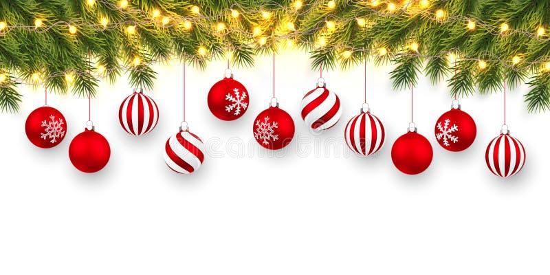 Slutlig jul eller nyårsbakgrund Julfir-trädgrenar med lätt trädgård och xmas röda bollar Helgdag`s bakgrund royaltyfri illustrationer