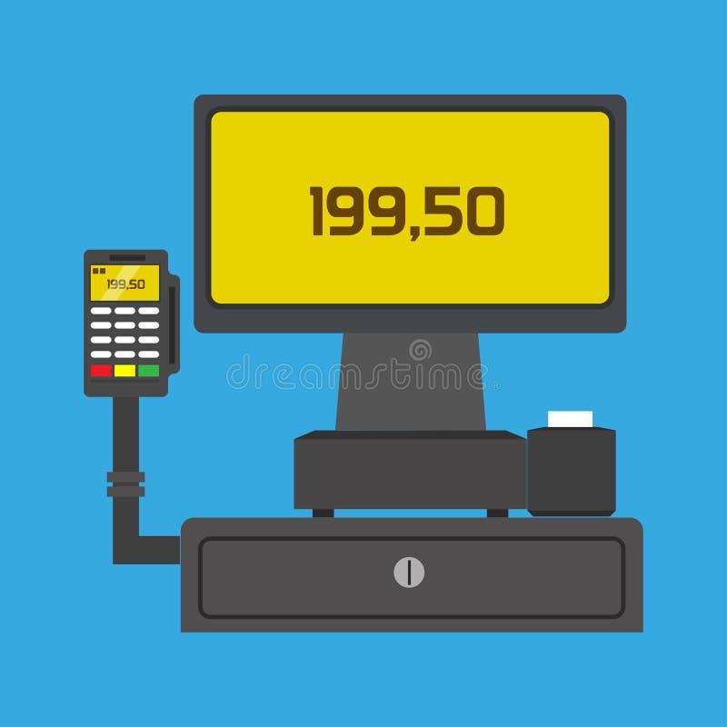 Slutlig köpaffär för pos. som betalar teknologivektorsymbolen Shoppa det cashless plana kortet för kommers Kassaavläsaröverföring vektor illustrationer