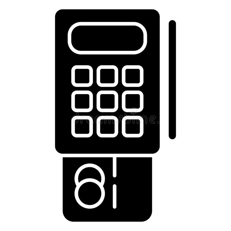Slutlig vektorsymbol för kreditkort Svartvit slutlig illustration Fast linjär bankrörelsesymbol stock illustrationer