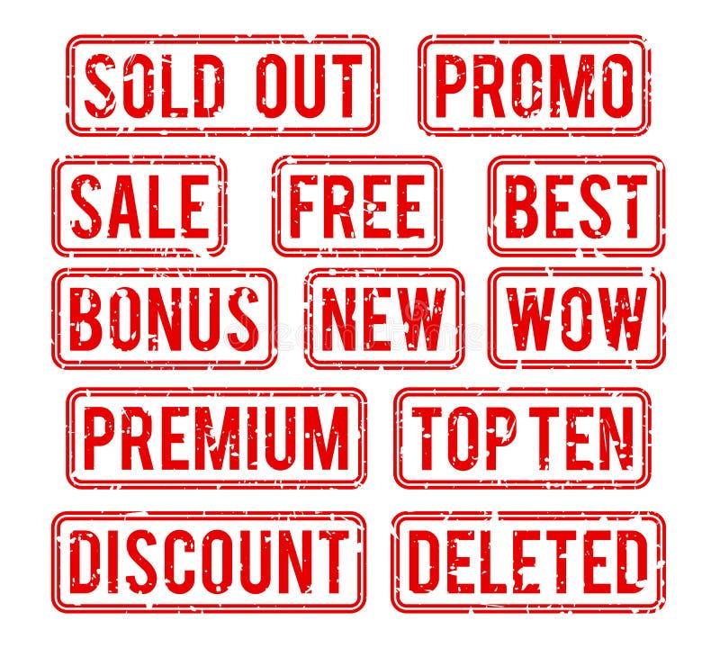 Slutsålt och promoen, bonusförsäljningsvektor stämplar vektor illustrationer