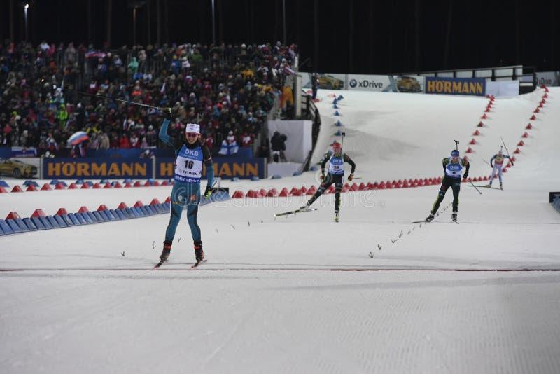 Slutskede IX av Biathlonvärldscupen IBU BMW 24 03 2018 royaltyfri foto