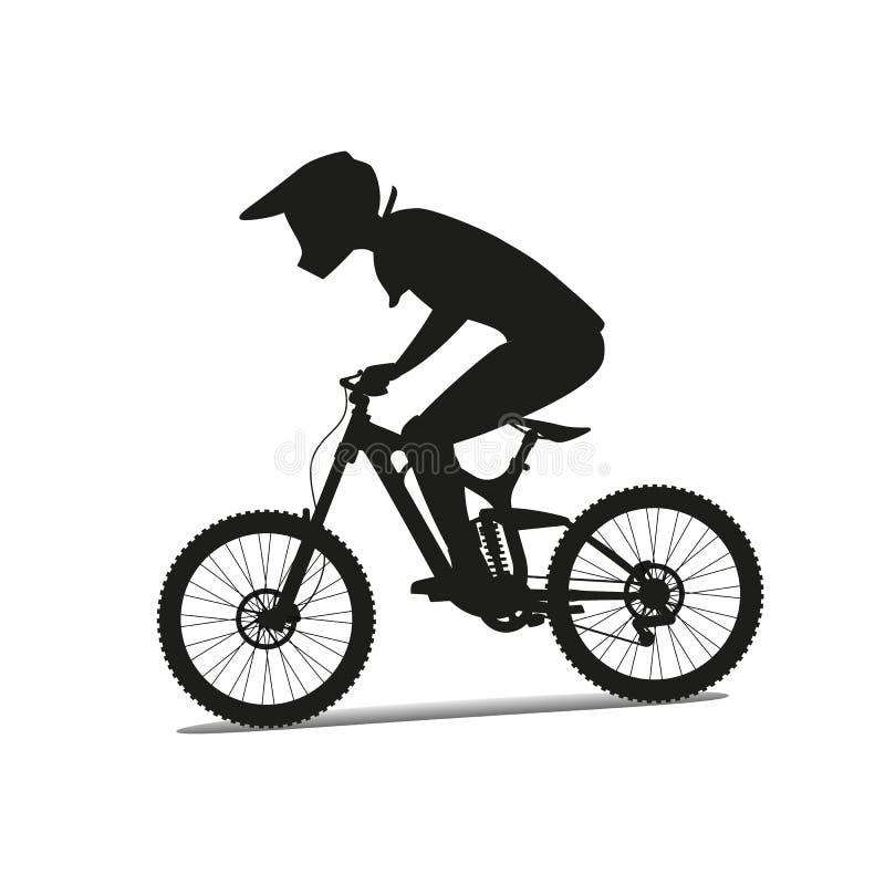 Sluttande mountainbike kvinna för vektor för attraktiv asksilhouette sittande royaltyfri illustrationer