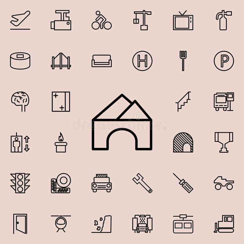sluttande symbol för tunnel Detaljerad uppsättning av den minimalistic linjen symboler Högvärdig grafisk design En av samlingssym vektor illustrationer