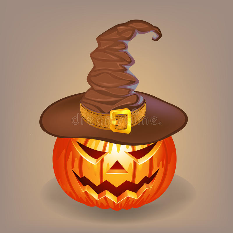 Sly pumpkin in a witch hat for Halloween stock images
