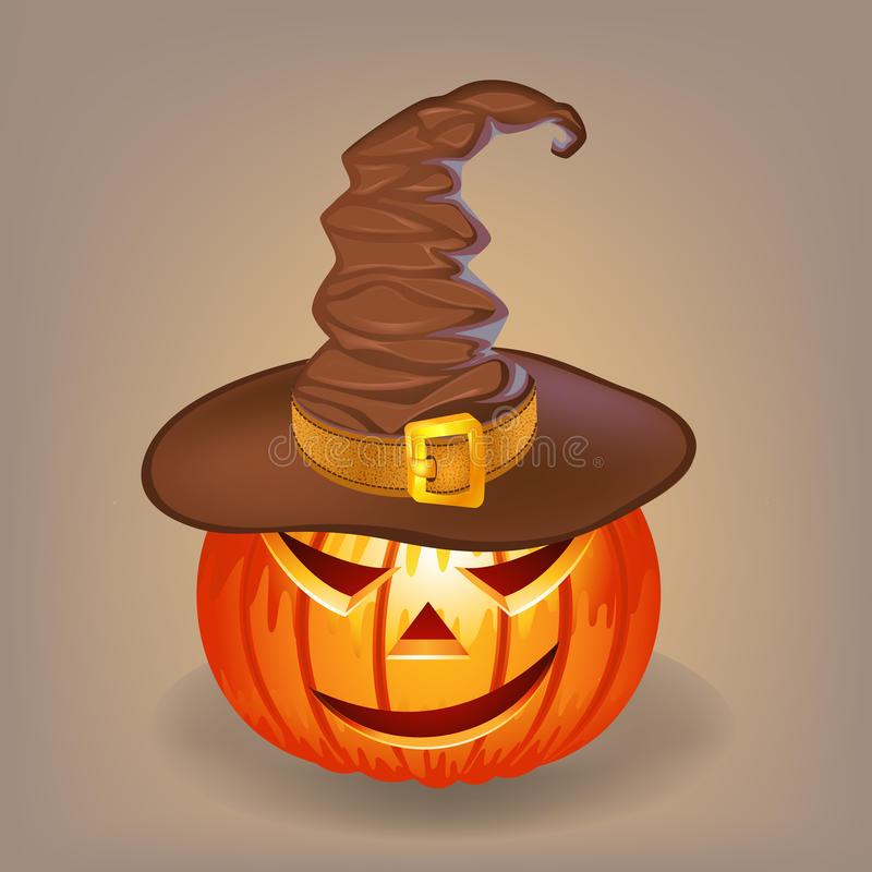 Sly pumpkin in a witch hat for Halloween royalty free stock photography