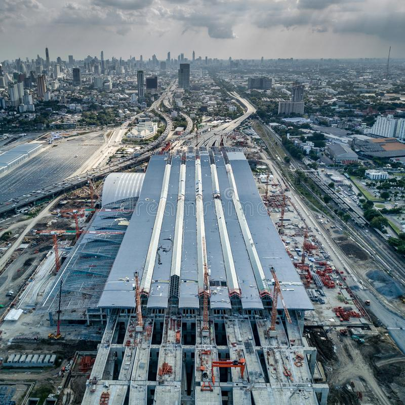 Smällen stämmer centralstationen, järnväg nav av Bangkok fotografering för bildbyråer