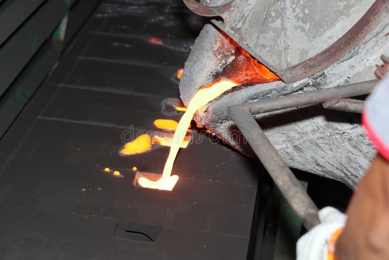 Smält metall för järn som häller i sandform arkivfoton