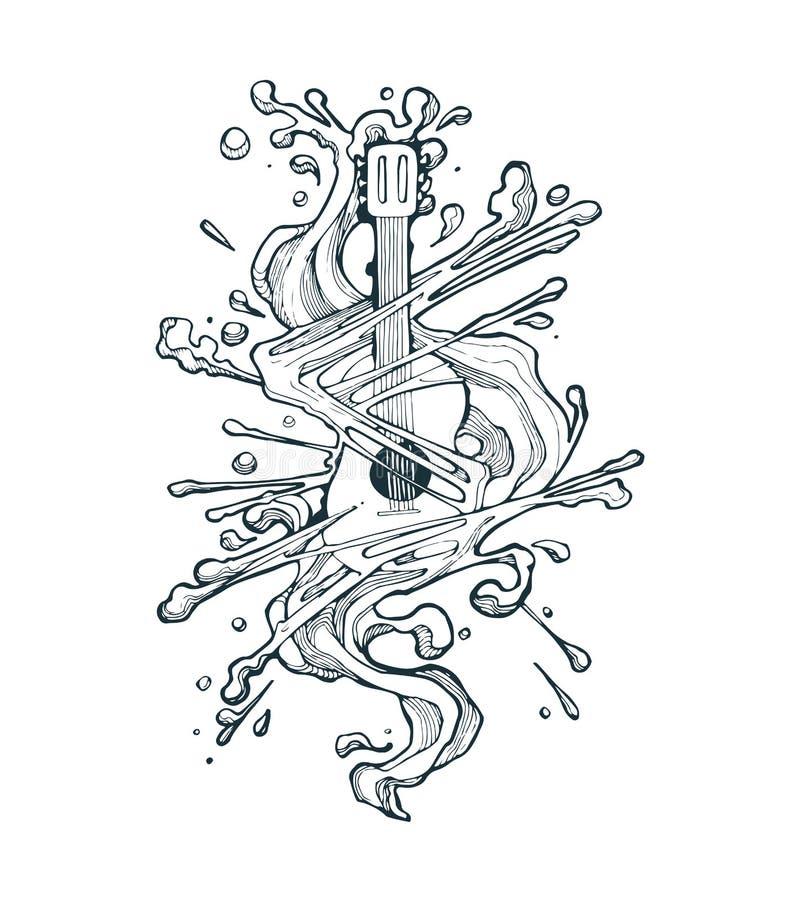 Smältande gitarr royaltyfri illustrationer