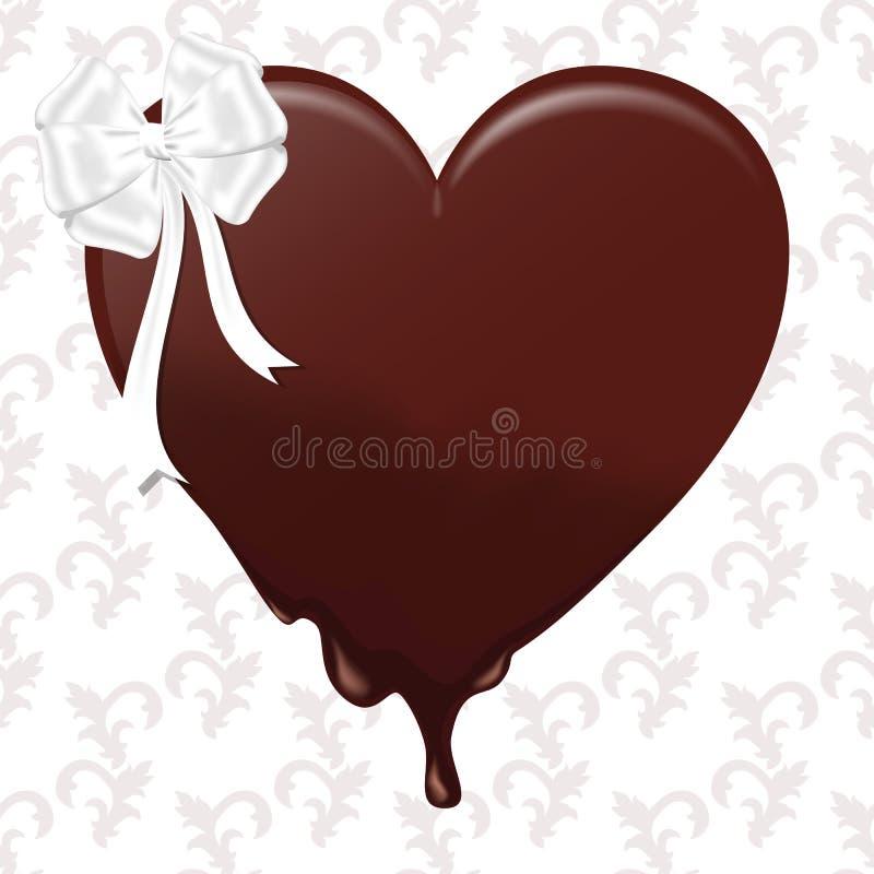 Smältande hjärta för choklad med en vit pilbåge På en vit bakgrund med prydnaden vektor illustrationer
