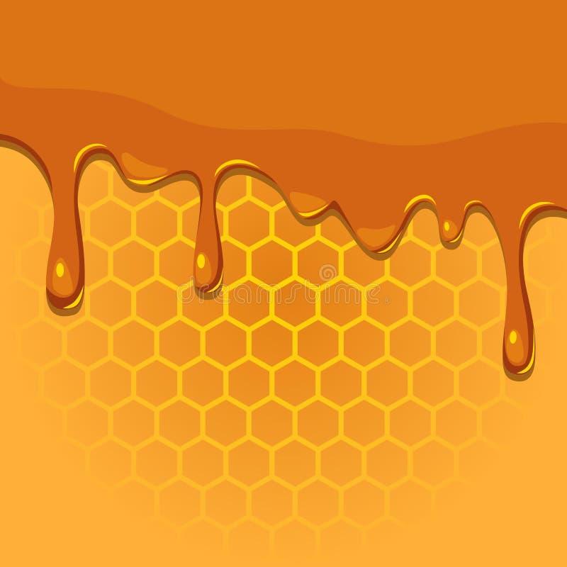 Smältande honung på honungskakatextur vektor illustrationer