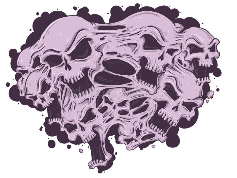 Smältande skallar vektor illustrationer