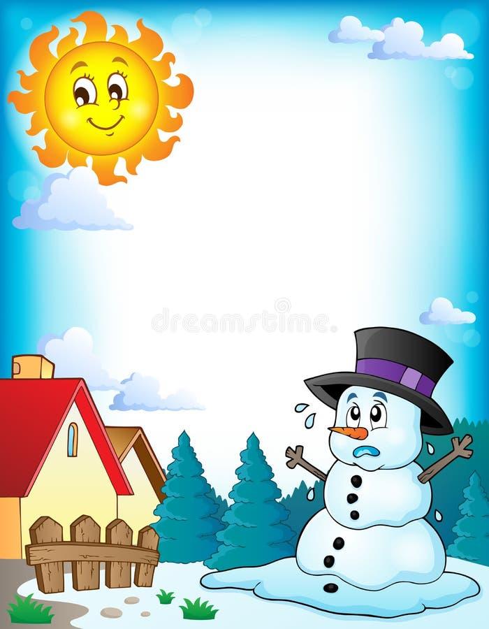 Smältande snögubbetemabild 3 stock illustrationer
