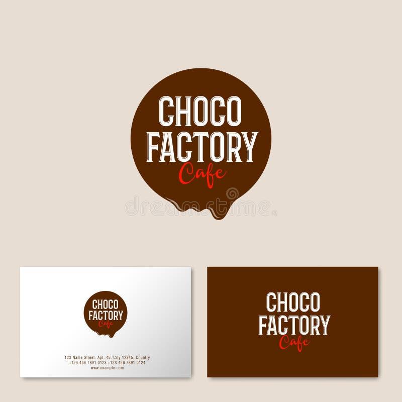 Smältt chokladcirkel med bokstäver Logo för kafé eller bakelse Sammansättning med chokladdroppe stock illustrationer