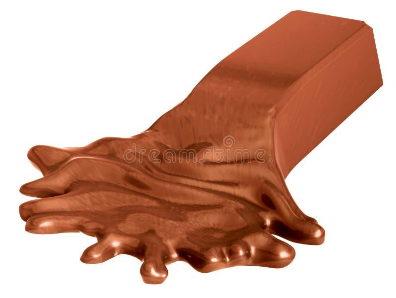Smältt chokladstång som isoleras på vit arkivfoton